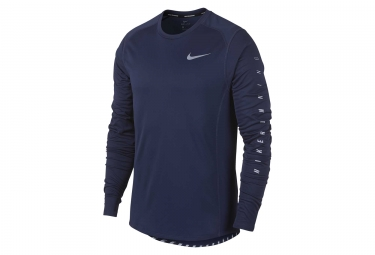 maillot manches longues nike dry miler flash bleu homme s