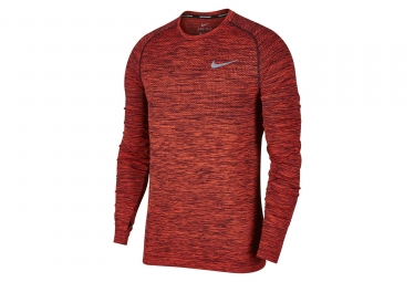 maillot manches longues nike dri fit knit rouge homme s