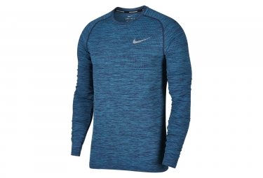 Maillot Manches Longues Nike Dri-Fit Knit Bleu Homme