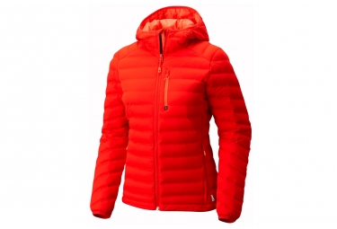Veste a capuche femme mountain hardwear stretchdown ds rouge l