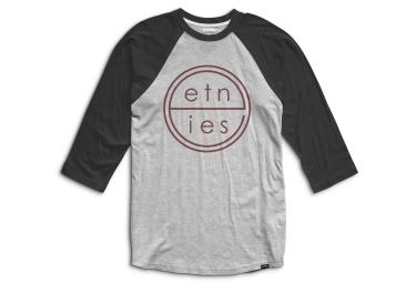 t shirt manches 3 4 etnies united raglan gris noir s
