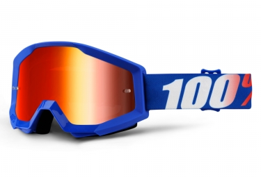 100% Strata Nation Goggle Blue Frame Iridium Red Lens