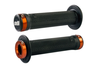 poignees odi ruffian bmx lock on 143mm noir orange