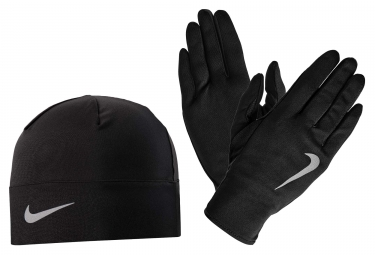 Nike Run Dry Gloves and Beanie Set Black