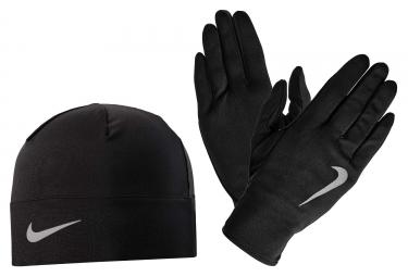 Pack Gants Bonnet Nike Run Dry Noir