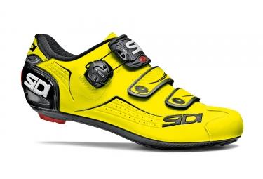 Paire de chaussures route sidi 2018 alba jaune fluo noir 42