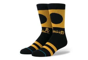 chaussettes stance black balled noir jaune 38 42