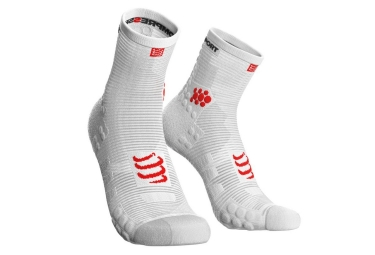 Chaussettes compressport pro racing v3 0 run haute blanc 39 41