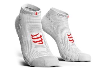 chaussettes compressport proracing v3 smart run basse blanc 42 44