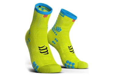 Chaussettes Compressport Pro Racing V3.0 Run Haute Jaune Bleu