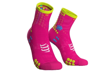 Compressport ProRacing Socks V3 Run High Pink Yellow Fluo