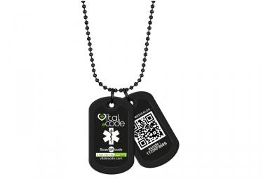 Pendentif d'identification Vital eCode Vital Tag Noir