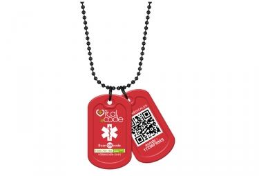 Pendentif d'identification Vital eCode Vital Tag Rouge