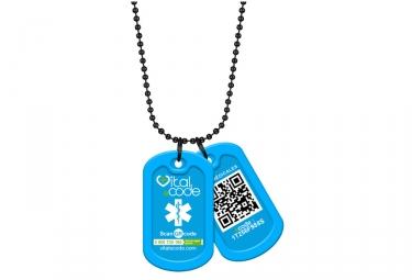 Pendentif d´identification Vital eCode Vital Tag Bleu