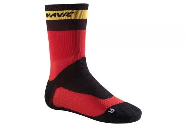 paire de chaussettes hiver mavic ksyrium pro thermo rouge noir 35 38