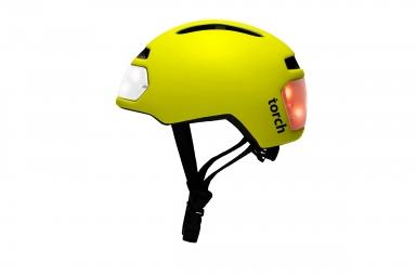casque velo urbain torch avec led integrees avant et arriere jaune unique
