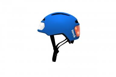 casque velo urbain torch avec led integrees avant et arriere bleu unique