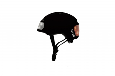 Casque velo urbain torch avec led integrees avant et arriere noir midnight unique