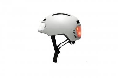 casque velo urbain torch avec led integrees avant et arriere blanc unique