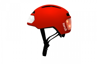 Casque velo urbain torch avec led integrees avant et arriere rouge unique