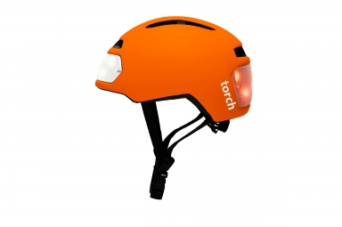Casque velo urbain torch avec led integrees avant et arriere orange unique