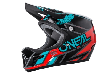 O'Neal Sonus Full Face Helmet Strike Black Teal Blue