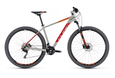 vtt semi rigide cube 2018 attention 29 shimano deore m6000 10v gris rouge 19 pouces 180 190 cm