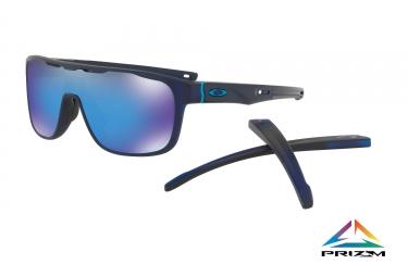 paire de lunettes oakley crossrange shield mat translucent blue prizm sapphire ref o