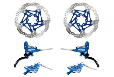 Hope Brake set Tech 3 E4 Braided Hose - HOPE Floating Disc Blue