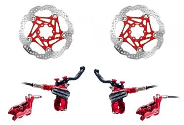 Hope Brake set Tech 3 V4 standard hose - HOPE Floating Disc Red