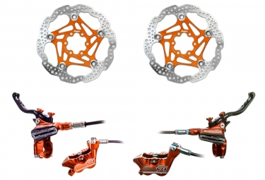 Hope Brake set Tech 3 V4 standard hose - Floating Disc Orange