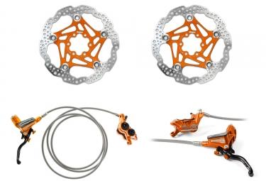 Hope Tech 3 V4 Brake set Orange Braided Hose - Floating Disc Orange