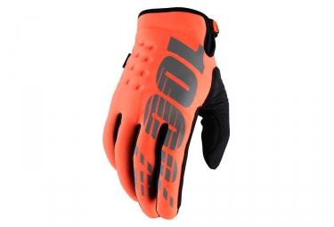 paire de gants hiver 100 brisker orange fluo l