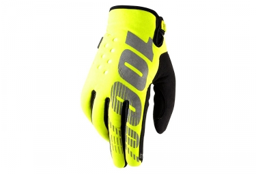 paire de gants hiver 100 brisker jaune fluo l