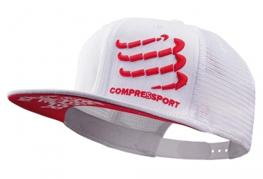 Casquette Compressport Trucker Cap Blanc Rouge