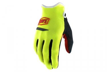 paire de gants longs 100 ridecamp jaune fluo m