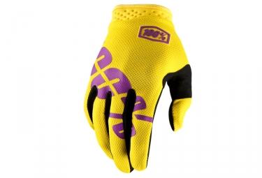 paire de gants 100 itrack jaune violet s