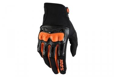 100% Derestricted Long Gloves Black Orange