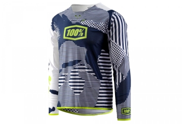100% R-Core-X Long Sleeves Jersey blanco / azul