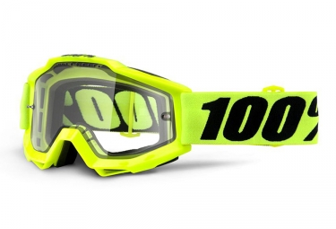 Masque 100% Accuri Enduro MTB Jaune Fluo Écran Transparent (Double Ventilé)