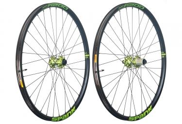 Paire de roues spank oozy trail 295 27 5 axe 15x100 12x142mm shimano sram noir vert