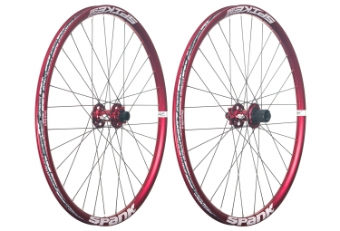 paire de roues spank 26 spike race 28 axe 20x110mm 12x135mm corps shimano sram rouge