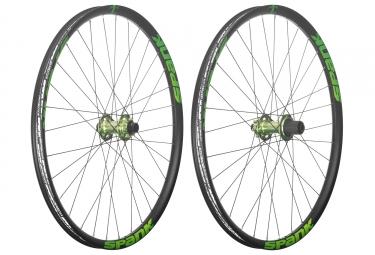 paire de roues spank 27 5 spike race 33 axe 20x110mm 12x150mm corps shimano sram vert