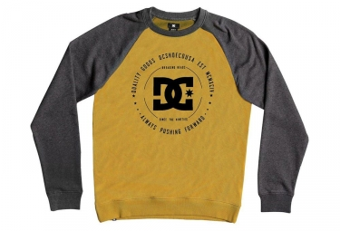 DC Shoes Reconstruido Crew Raglan Sweat Gris Amarillo