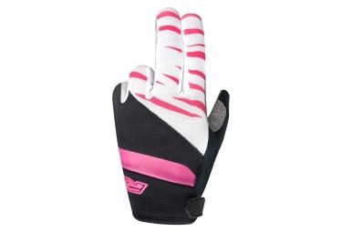 Paire de gants longs racer gp style noir blanc rose l
