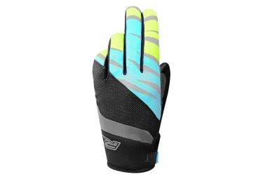 Paire de gants longs racer gp style noir bleu jaune l
