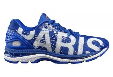 chaussures de running femme asics gel nimbus 20 paris marathon bleu 39