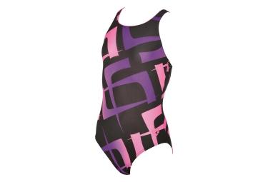 Maillot de bain fille arena scrawl noir violet rose 12 13 ans