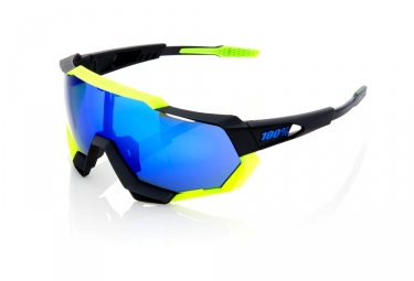 100% Speedtrap - Polished Black Yellow / Blue Mirror