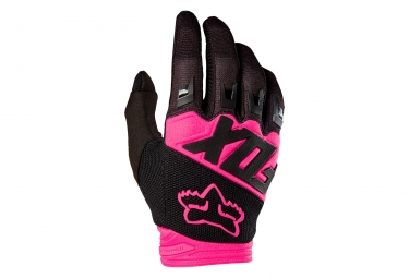 Gants longs femme fox dirtpaw race rose noir xl